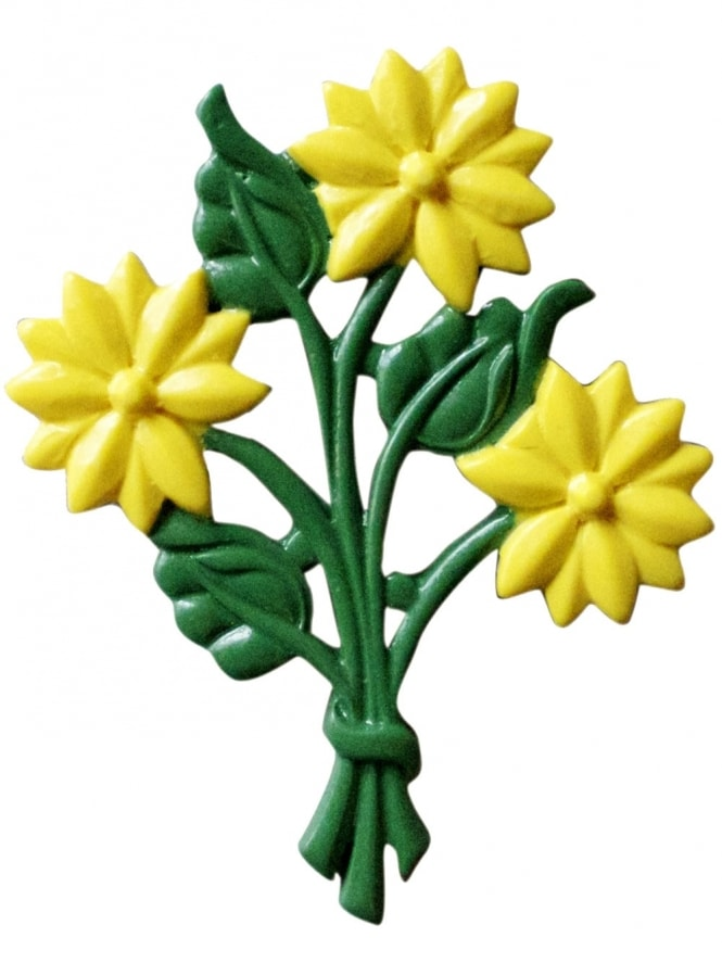 Bouquet of Flowers Brooch Yellow