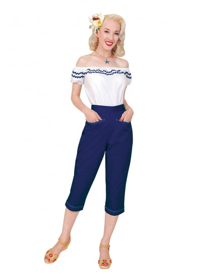 50s-1950s-Vivien-of-Holloway-Best-Vintage-Reproduction-Repro-Capri-Pants-Navy-Drill-Swing-Pinup-Rockabilly-Western