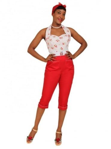50s-1950s-Vivien-of-Holloway-Best-Vintage-Reproduction-Repro-Capri-Pants-Red-Drill-Swing-Pinup-Rockabilly-Western