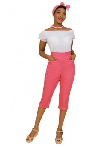 50s-1950s-Vivien-of-Holloway-Best-Vintage-Reproduction-Repro-Capri-Pants-Rosita-Drill-Pink-Swing-Pinup-Rockabilly-Western