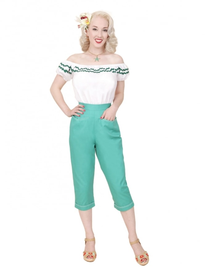 50s-1950s-Vivien-of-Holloway-Best-Vintage-Reproduction-Repro-Capri-Pants-Teal-Drill-Blue-Green-Swing-Pinup-Rockabilly-Western