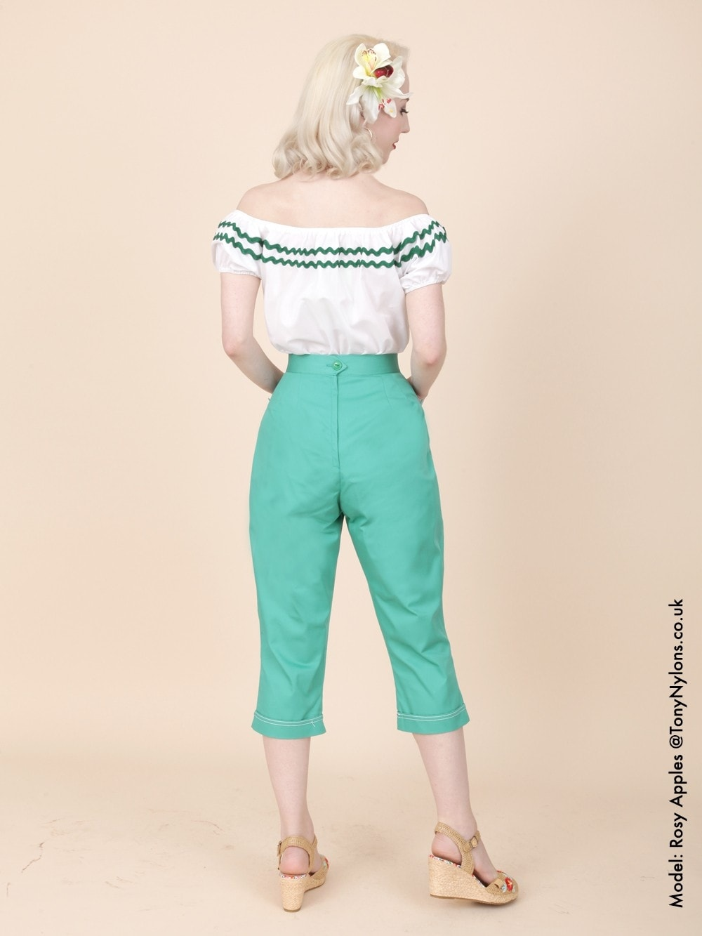 Capri Pants Teal Drill from Vivien of Holloway