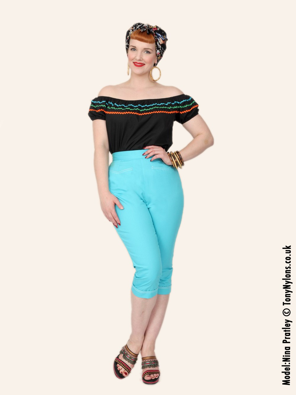 Capri Pants Turquoise Drill from Vivien of Holloway
