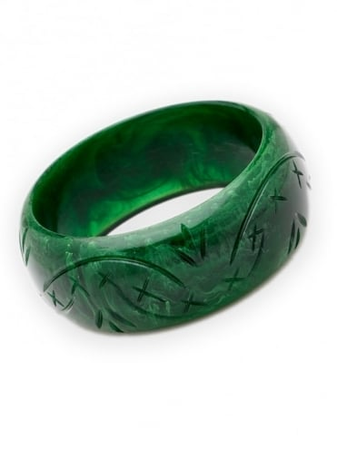 Carved Deep Green Bangle