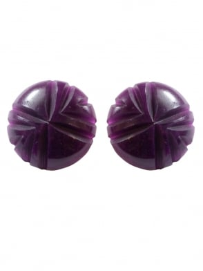 Carved Deep Purple Clip On Earrings