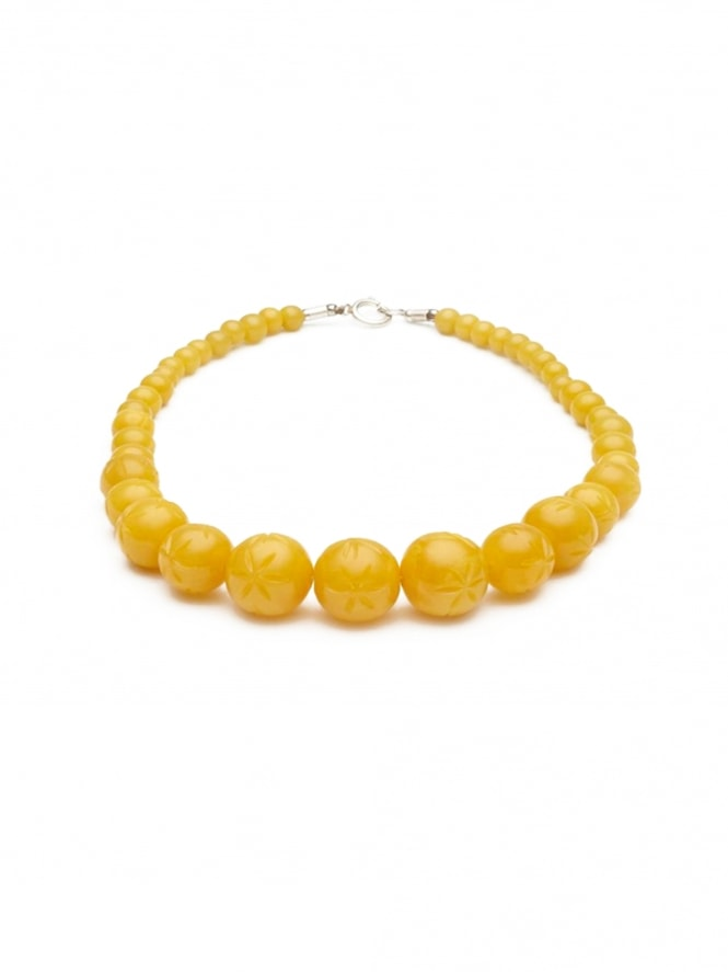 Carved Marigold Fakelite Bead Necklace