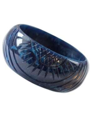 Carved Navy Bangle