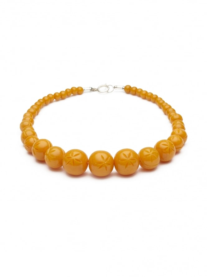 Carved Pale Orange Fakelite Beads Necklace