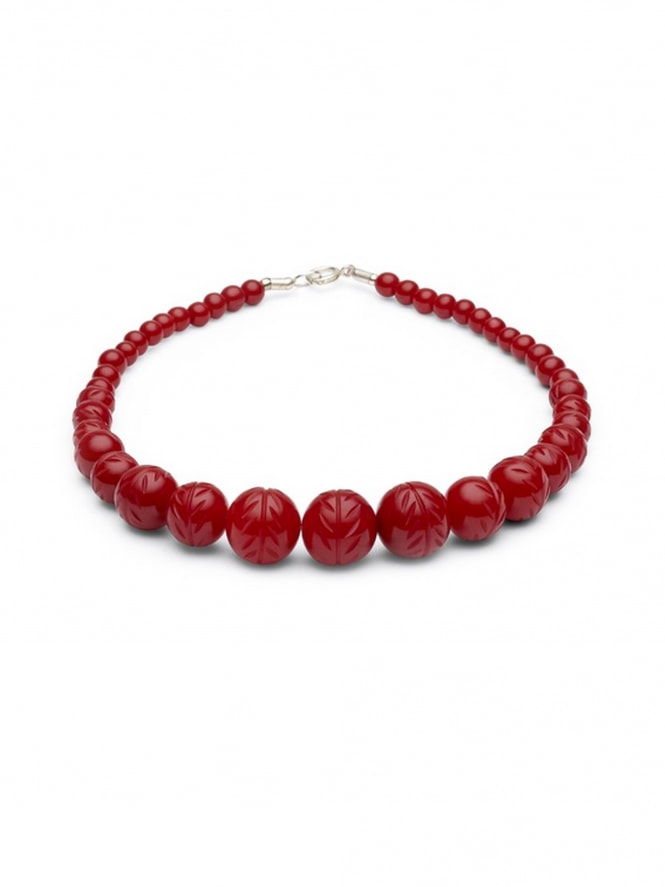 Carved Poppy Red Fakelite Beads Necklace