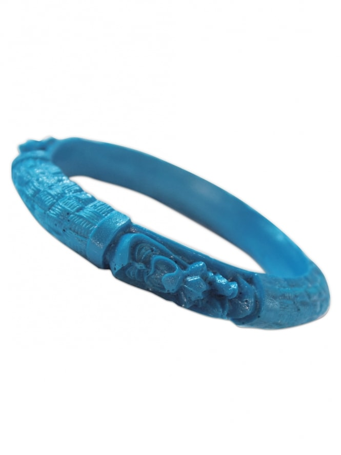 Carved Tiki Bangle - Blue