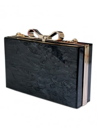 Charcoal Marble Bow Clutch