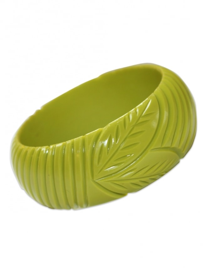 Chartreuse Carved Bangle