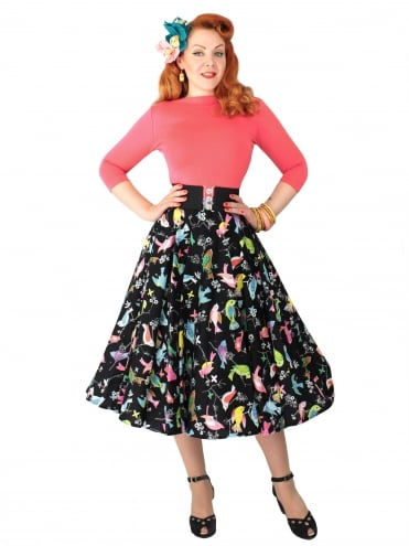 Circle Skirt Bird Black