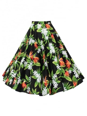Circle Skirt Bird of Paradise Black