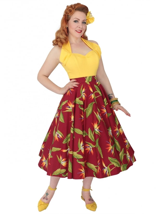 Circle Skirt Bird of Paradise Burgundy