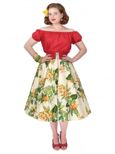 Circle Skirt Bird of Paradise Cream