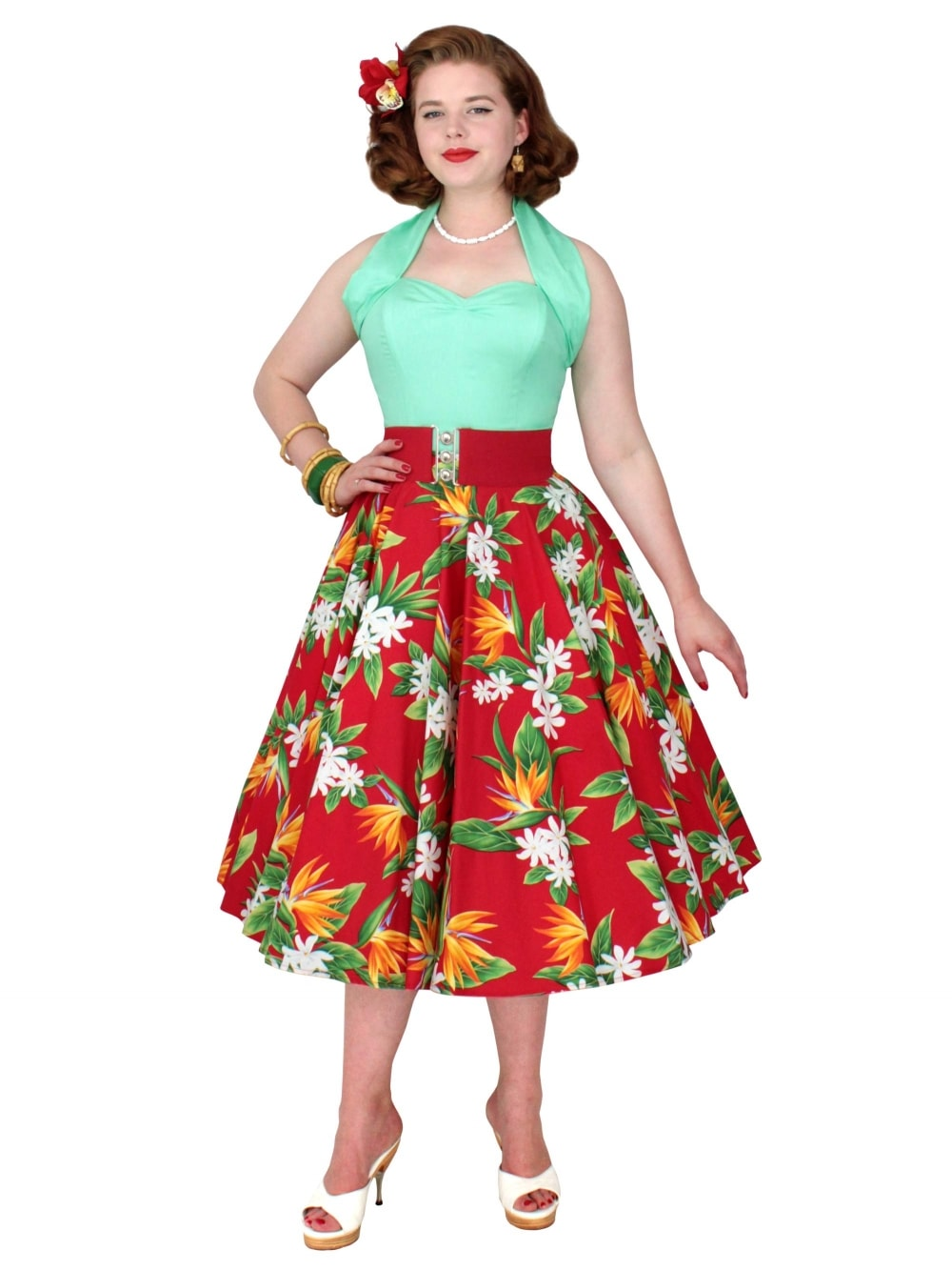 63f9dd82db Circle Skirt Bird of Paradise Red from Vivien of Holloway