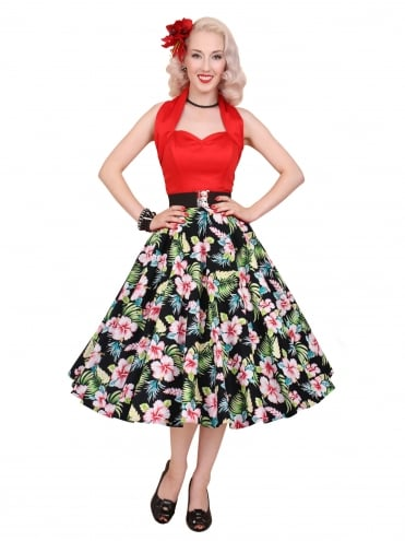 Circle Skirt Black Hawaiian