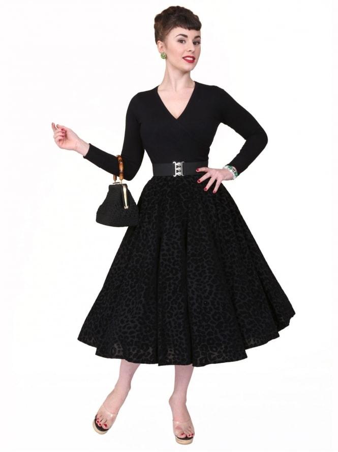 Circle Skirt Black Leopard