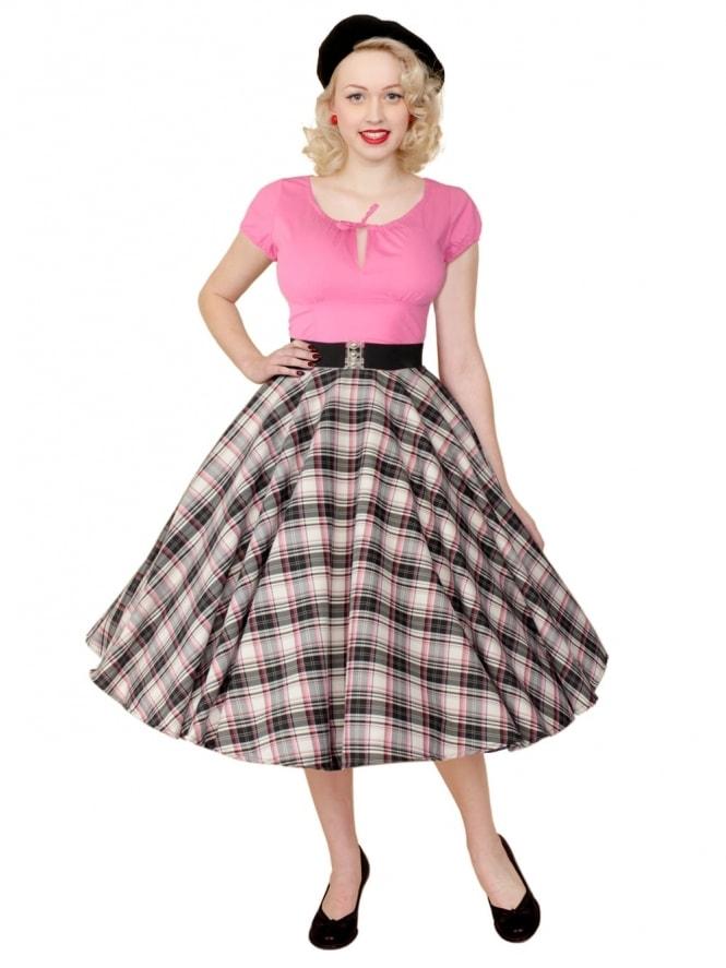 Repro-1950s-Circle-Skirt-Black-Pink-Tartan-Rockabilly-Swing-Pinup