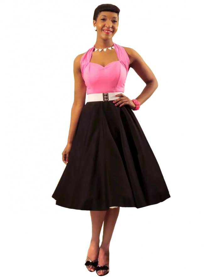 Circle Skirt Black Sateen