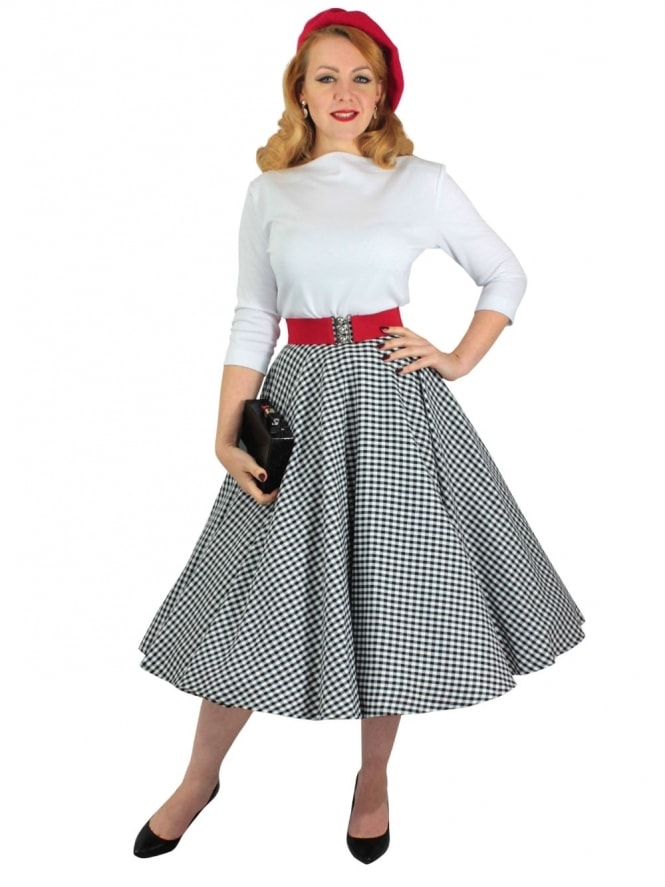 -Circle-Skirt-Black-White-Gingham-Rockabilly-Swing-Pinup