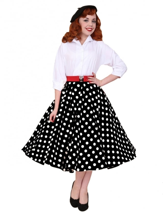 Circle Skirt Black White Polka