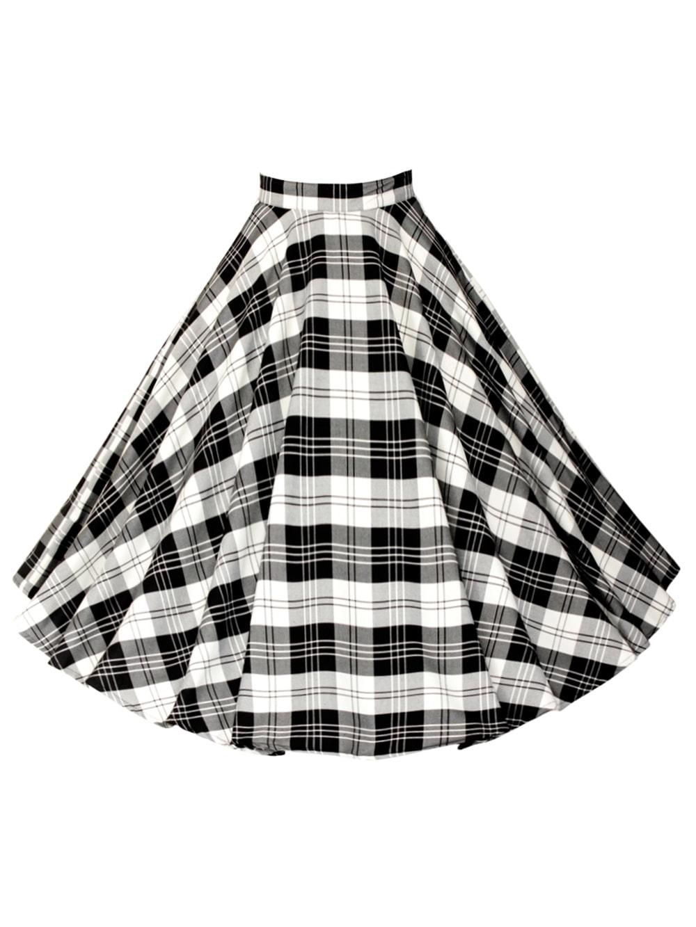 dfed253b51b0 1950s Circle Skirt Black White Tartan from Vivien of Holloway
