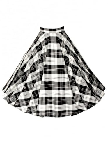 Circle Skirt Black White Tartan