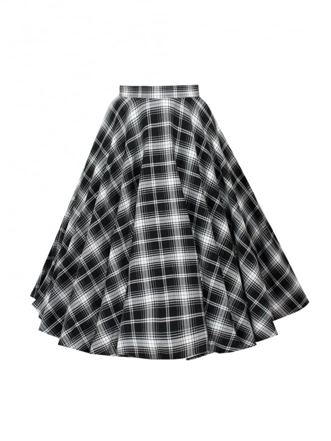 Circle Skirt Black White Tartan