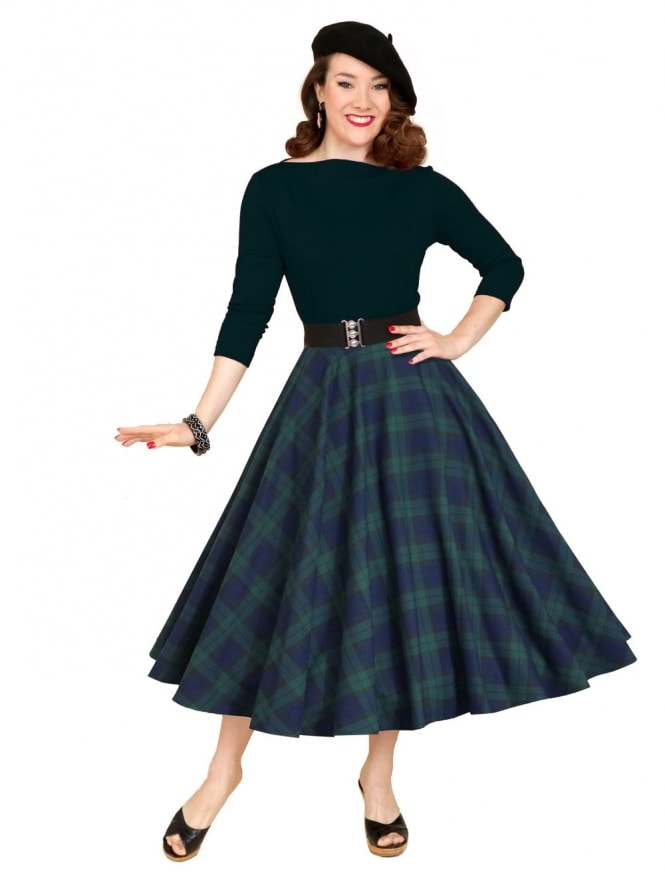 50s-1950s-Vivien-of-Holloway-Best-Vintage-Reproduction-Circle-Skirt-Blackwatch-Tartan-Green-Rockabilly-Pinup