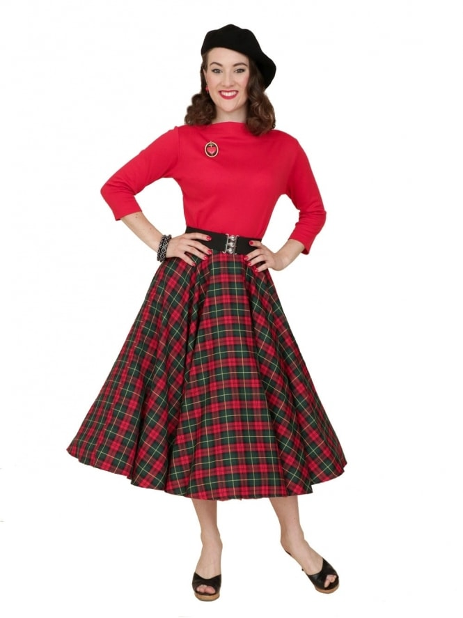 Circle Skirt Bottle Green Red Tartan