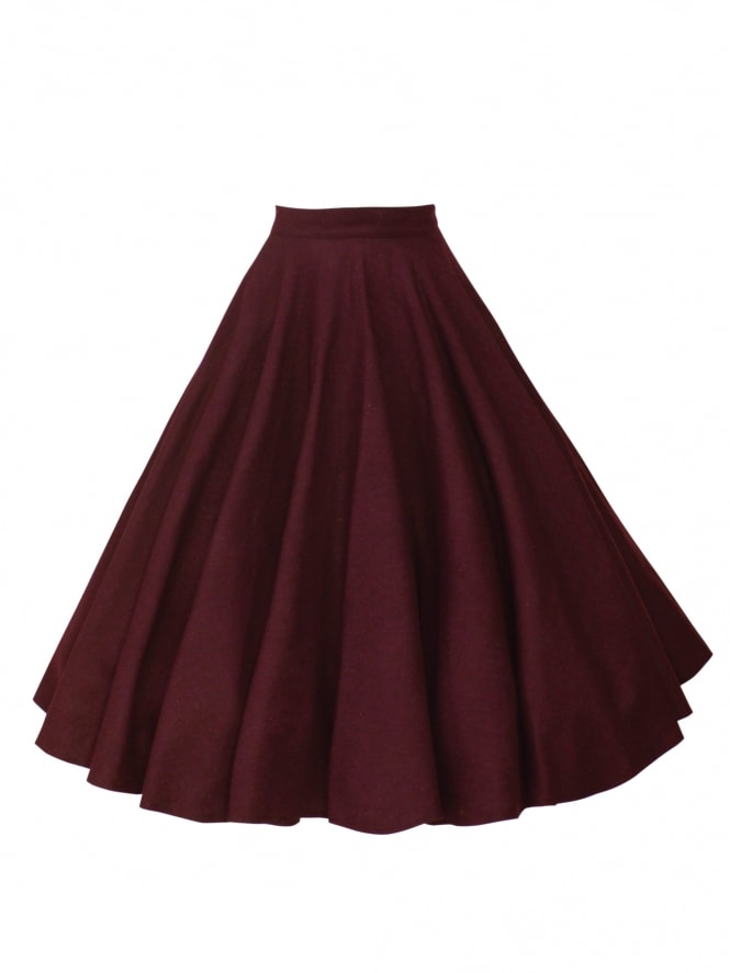 Circle Skirt Burgundy Flannel