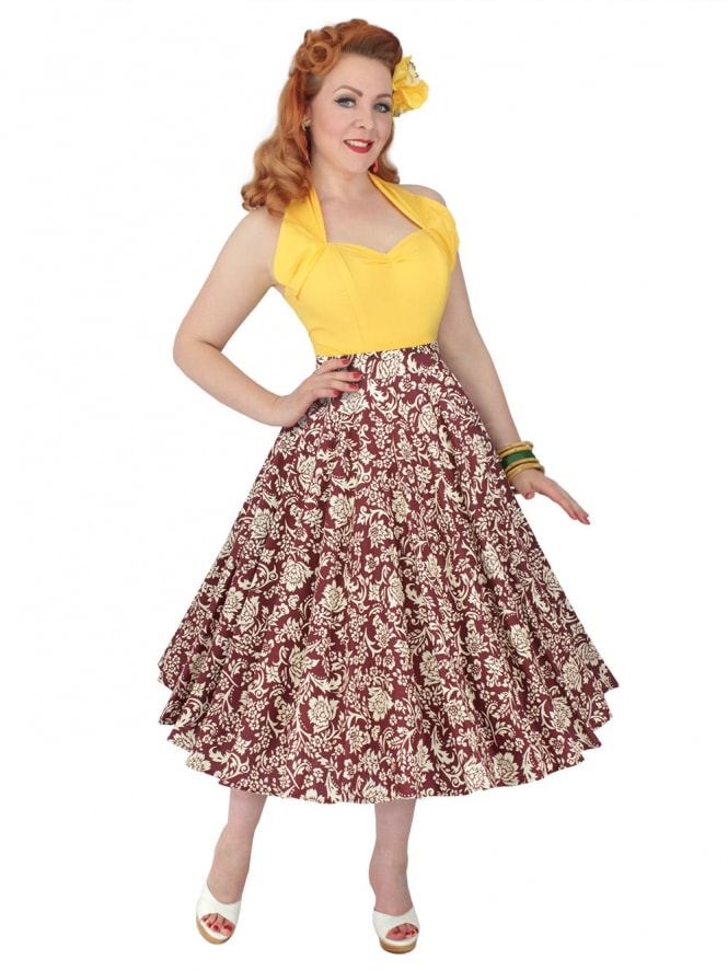Circle Skirt Burgundy Patt
