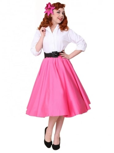 Circle Skirt Cerise Sateen
