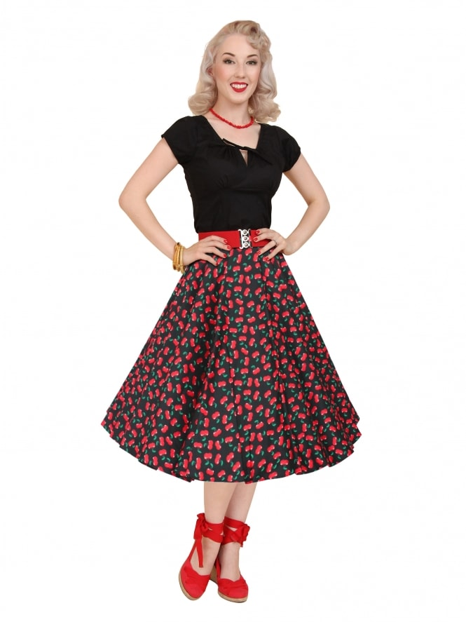 440f65359d5f3 1950s Circle Skirt Cherry Black from Vivien of Holloway