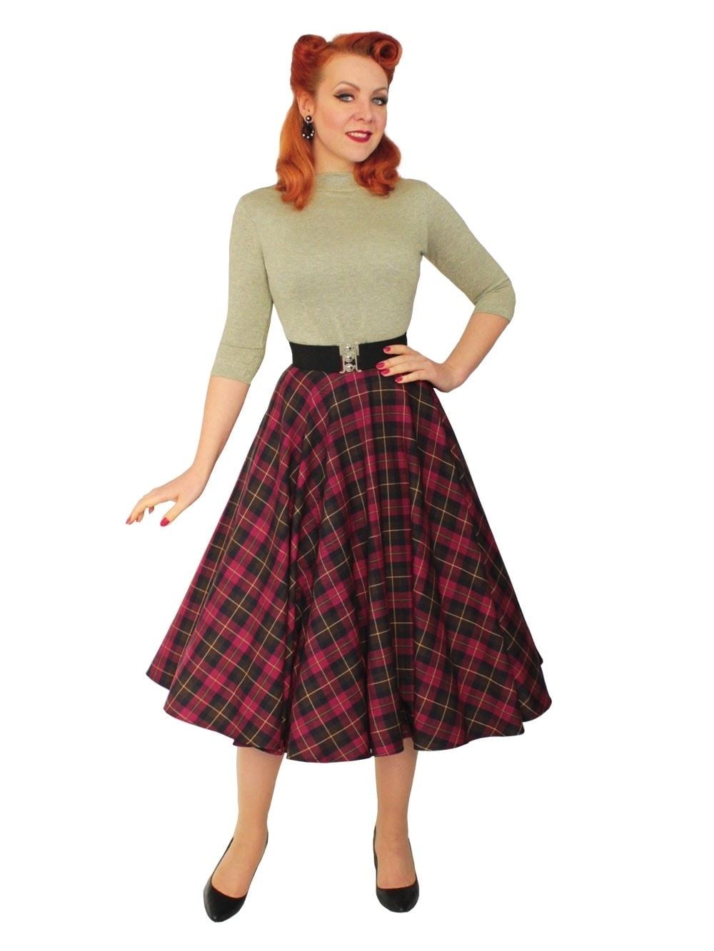 4a755a58a52b5 1950s Circle Skirt Cherry Tartan from Vivien of Holloway