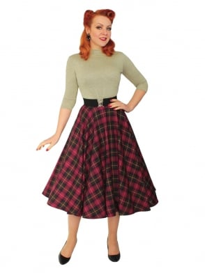 Circle Skirt Cherry Tartan