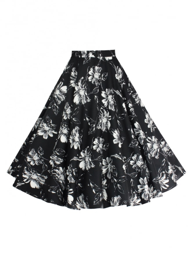 Circle Skirt Daisy Black