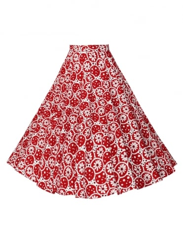 Circle Skirt Daisy Bubble Red