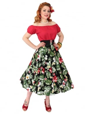 Circle Skirt Deluxe Hibiscus Black