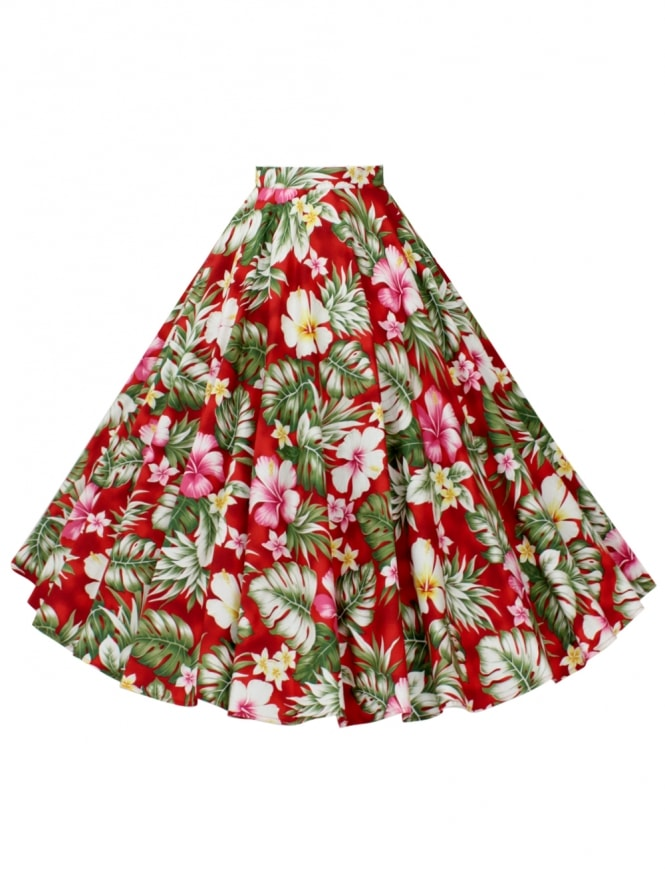 Circle Skirt Deluxe Hibiscus Red