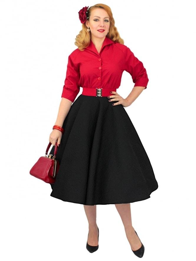 Repro-1950s-Circle-Skirt-Embossed-Rose-Black-Rockabilly-Swing-Pinup