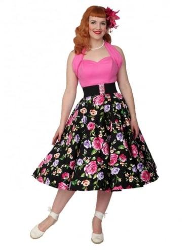 Circle Skirt Floral Noir