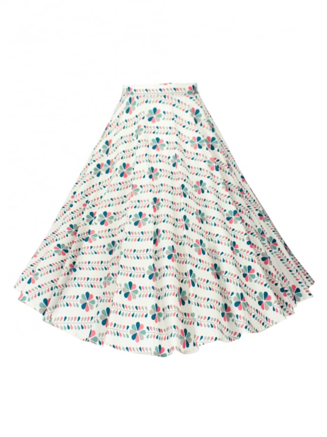 Circle Skirt Floral Stripe