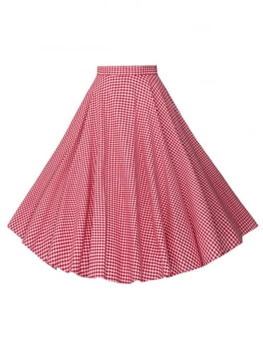 Circle Skirt Gingham Red