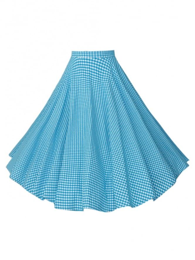 Circle Skirt Gingham Turquoise