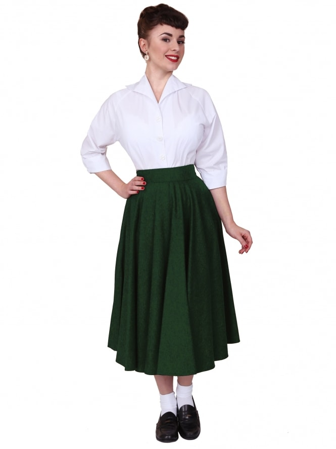 Circle Skirt Green Flannel