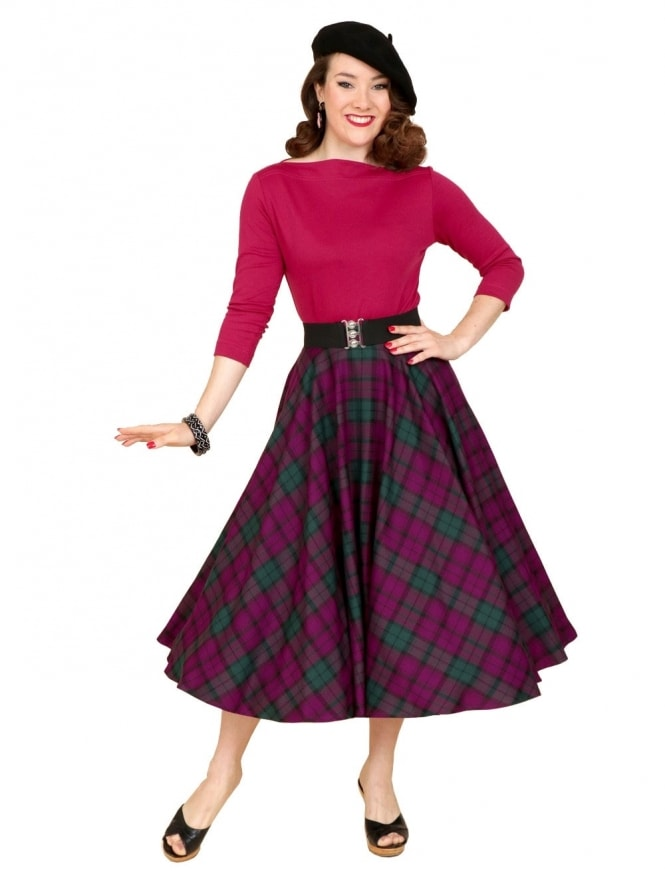 50s-1950s-Vivien-of-Holloway-Best-Vintage-Reproduction-Circle-Skirt-Heather-Tartan-Purple-Rockabilly-Pinup
