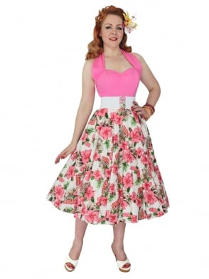 Circle Skirt Hibiscus Coral